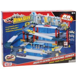 """DYNA CITY MULTI-LEVEL PARKING TOWER WITH FOUR 3"""" CARS - 88 PIECES"""