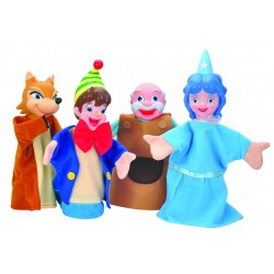 4 PIECES LARGE HAND PUPPET WITH PLASTIC THEATRE PLAYSET