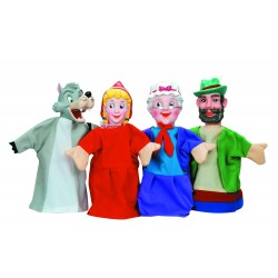 4 PIECES LARGE HAND PUPPET WITH PLASTIC THEATRE