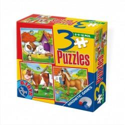 3 MAGNETIC PUZZLES 6-9-16 PIECES / ANIMALS