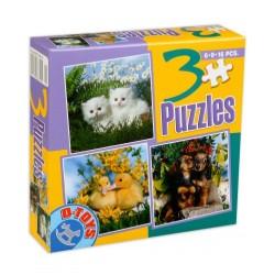 3 PUZZLES 6-9-16 PIECES / ANIMALS PHOTO