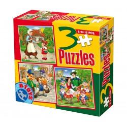 3 PUZZLES FAIRY TALES 6-9-16 PIECES