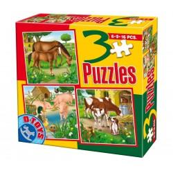 3 PUZZLES ANIMALS 6-9-16 PIECES