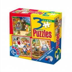 3 MAGNETIC PUZZLES 6-9-16 PIECES / FAIRY TALES