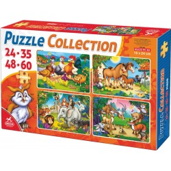 4 in 1 PUZZLE COLLECTION 24-35-48-60 PIECES / ANIMALS